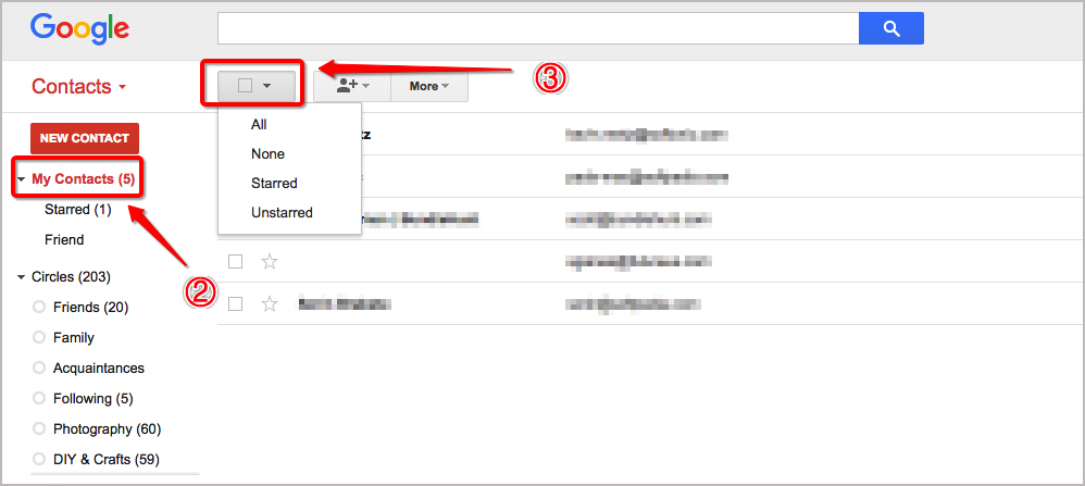 How to Delete Contacts from Gmail Contacts List Step Two