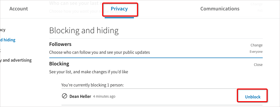 How to Unblock Someone on LinkedIn Step 2