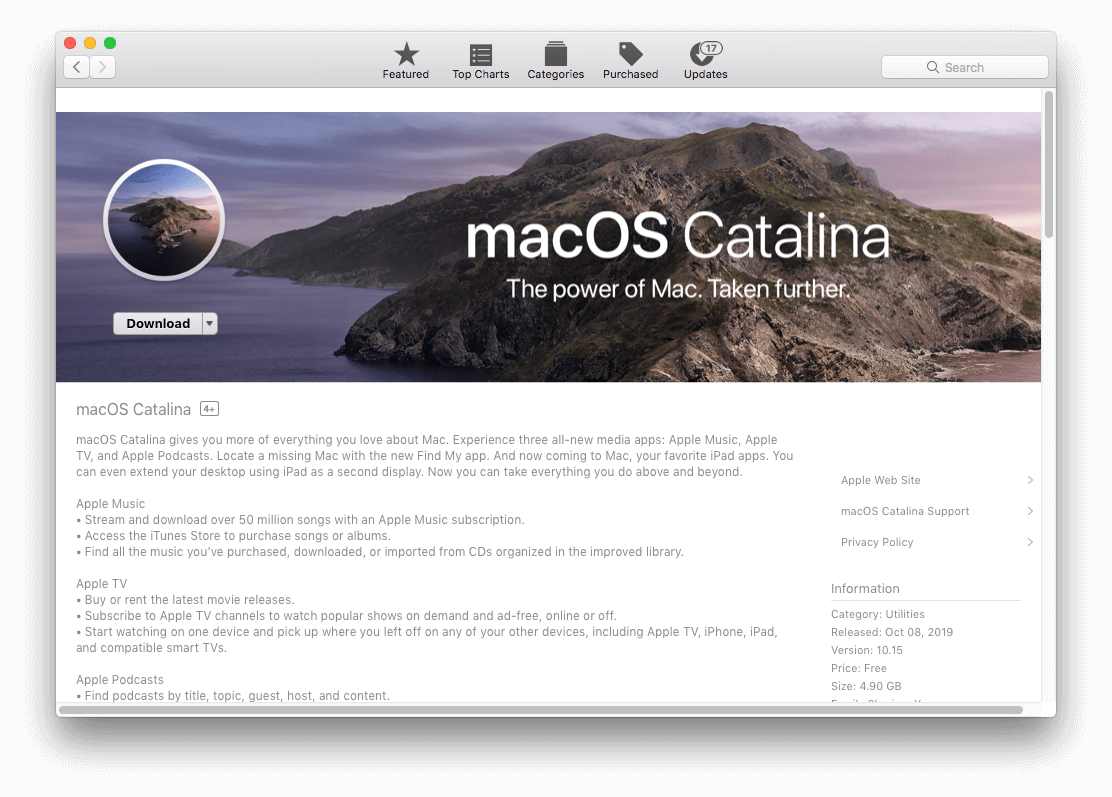 upgrade to macOS Catalina