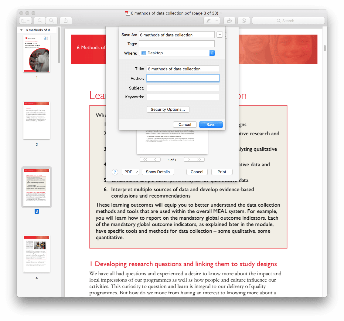 use preview app to save a page of a pdf