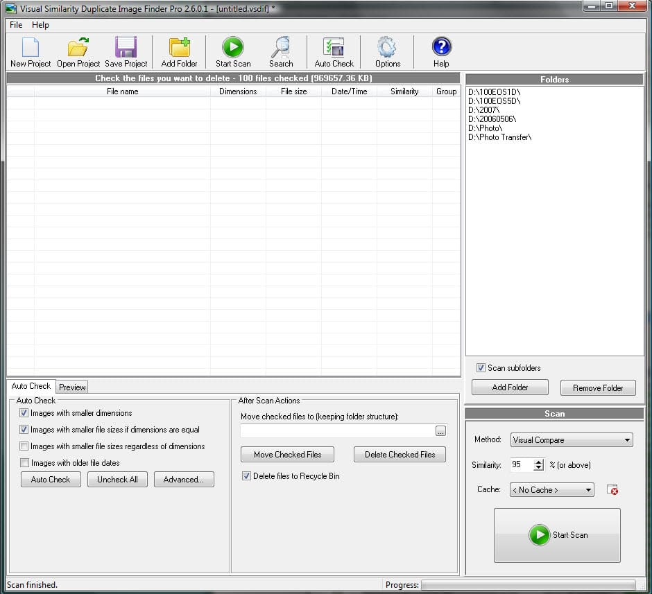 the toolbar displaying Add Folders and other tools