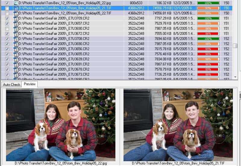 the scan results window displaying duplicate photos that have been found