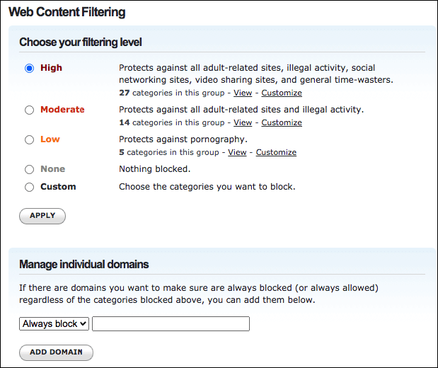 choose a filtering level
