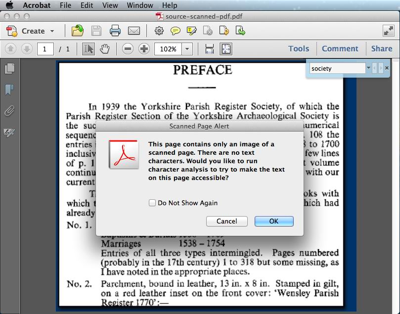 why pdf can not be searched